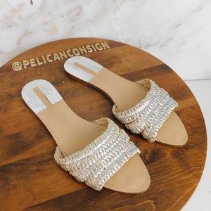 Zara Basics silver woven Slides EUC 39